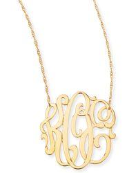 Jennifer Zeuner 18k Gold Vermeil Medium 3letter Monogram Necklace - Lyst