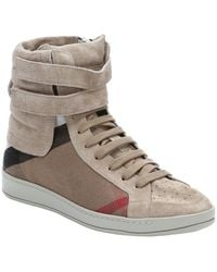 Burberry Dark Sand Suede and Check Canvas Rushlake Hi-top Sneakers - Lyst