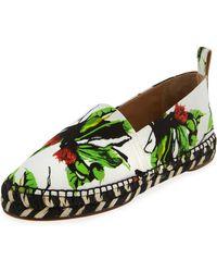 Proenza Schouler Floral-Print Cotton Espadrilles - Green