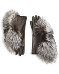 Maison Margiela Fox Fur & Leather Gloves - Lyst