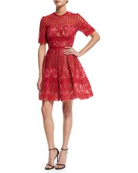 Elie Saab | Sleeveless Embroidered Tulle Cocktail Dress | Lyst