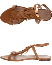 Chloé Nappa Fringe Flat Sandal - Lyst