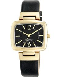 Nine West - Goldtone Black Leather Strap Watch, Nw1840bkbk - Lyst