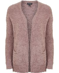 Topshop Wool Blend Knitted Boucle Cardigan - Lyst