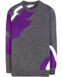 Miu Miu Gray Wool-blend Sweater - Lyst