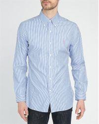 Polo Ralph Lauren Blue Striped Poplin Slim-Fit Shirt - Lyst