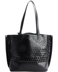 Olivia Harris Black Perforated Leather Shopping Tote black - Lyst