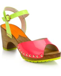 Sophia Webster Ava Wooden-Heeled Patent Leather Sandals - Lyst