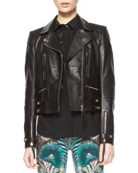 Roberto Cavalli Napa Leather Motorcycle Jacket - Lyst
