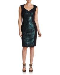 Elie Tahari Reba Sequin Front Dress - Lyst
