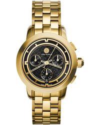 Tory Burch | Tory Chronograph Goldtone Stainless Steel Bracelet Watch/black | Lyst