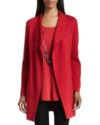 Eileen Fisher Silk-cotton Interlock Long Jacket - Lyst