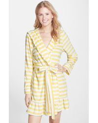 Betsey Johnson Hooded Stripe Terry Robe yellow - Lyst