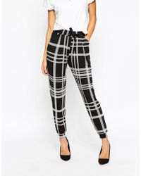 ASOS | Jersey Peg Trousers With Draw Cord Waist In Mono Grid Check | Lyst