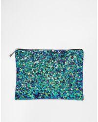 Asos Mermaid Zip Top Clutch Bag - Lyst