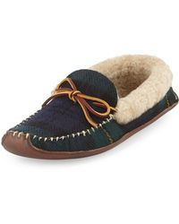 Ralph Lauren Collection Shearling Fur-lined Plaid Slipper - Lyst