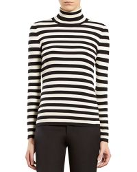 Gucci Striped Silk Cashmere Turtleneck Sweater - Lyst