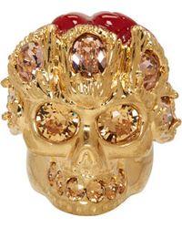 Alexander McQueen Gold Skull Flower Ring - Lyst