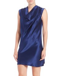 Haute Hippie | Cowlneck Cap-sleeve Silk Dress | Lyst