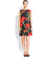 Dolce & Gabbana Carnation Jacquard Dress red - Lyst