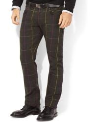 Polo Ralph Lauren Varick Slim-straight Plaid Jeans - Lyst