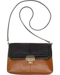 Calvin Klein Turnlock Pebble Leather Crossbody - Lyst