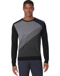 Calvin Klein Merino Wool Colorblocked Crewneck Sweater - Lyst