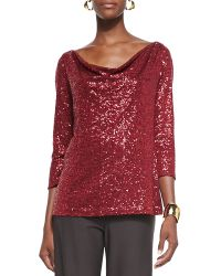 Eileen Fisher Stretch Sequined Top - Lyst