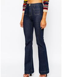 Missguided Pocket Detail 70s Flare Jean - Blue