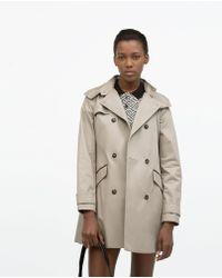 Zara Hooded Cotton Trenchcoat beige - Lyst