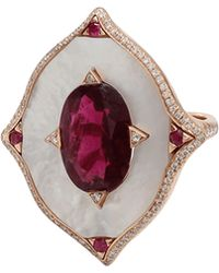 Inbar - Rubelite And Mother Of Pearl Shield Ring - Lyst