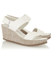 Pedro Garcia Fiona Textured-leather Wedge Sandals - Lyst