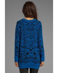 Torn By Ronny Kobo Randy Puffy Leopard Sweater in Blue - Lyst