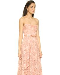 Notte by Marchesa Lace Strapless Gown With Belt - Pale Coral - Lyst