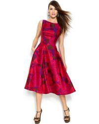 Adrianna Papell Sleeveless Rose-Print Midi Dress - Lyst
