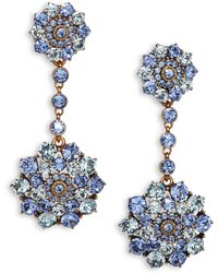 Oscar de la Renta Classic Crystal Clip-On Drop Earrings - Lyst