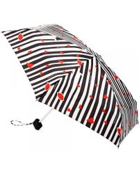 Lulu Guinness - Tiny Cutout Lips Stripe Umbrella - Lyst