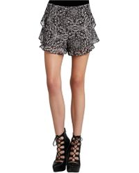 BCBGeneration Graphic Print Ruffle Shorts - Lyst