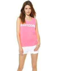 Textile Elizabeth And James Westcoast Dean Tee Hot Pinkwhite - Lyst