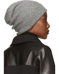Helmut Lang Heather Gray Ribbed Knit Lux Hat