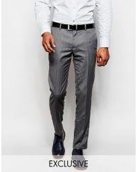 Féraud Herringbone Suit Trousers - Grey