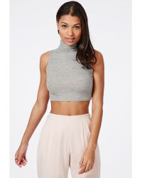 Missguided High Neck Ribbed Jersey Sleeveless Crop Top Grey - Lyst