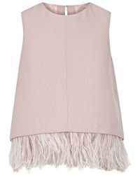 The 2nd Skin Co.   Pale Pink Crepe And Feathers Top   Lyst