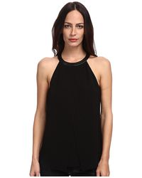 Tibi Arden Crepe Draped Top W Leather - Lyst