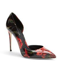 Dolce & Gabbana Floral Print Patent Leather Half D'Orsay Pump - Lyst