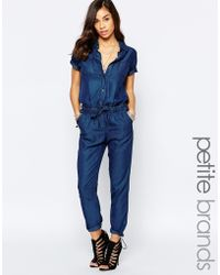 Noisy May Petite - Short Sleeve Jumpsuit With Drawstring Waist - Blue - Lyst