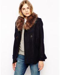 Parka London Lottie Wool Pea Coat With Detachable Faux Fur Collar - Blue