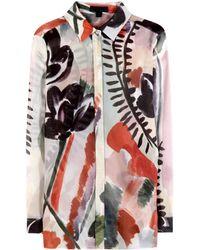 Burberry Prorsum Printed Silk and Cottonblend Shirt - Lyst