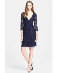 Diane von Furstenberg 'Julianna' Three Quarter Sleeve Lace Wrap Dress - Lyst