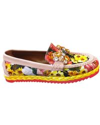 Dolce & Gabbana 20Mm Embellished Peony Print Loafers - Lyst